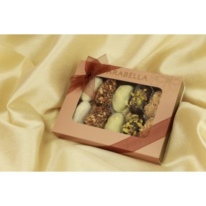 Medjool Dates Coated with Belgian Chocolate , Rolled in Nuts 10 pieces - NEW !!!