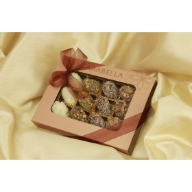 Mini Medjool Dates Coated with Belgian Chocolate, Rolled in Nuts  - 12 Pieces ( NEW )